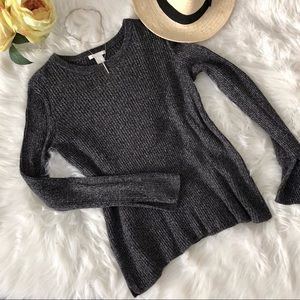 H&M charcoal grey ribbed sweater with slits